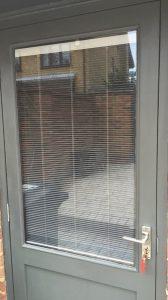 back door with internal blinds