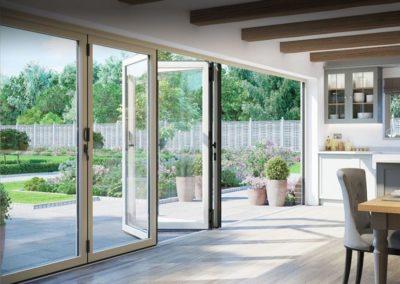 White Aluminium Bi Fold Doors