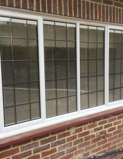 White Casement Window With Internal Blinds