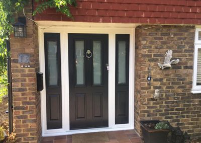Grey Solidor Composite Front Door With Side Panels