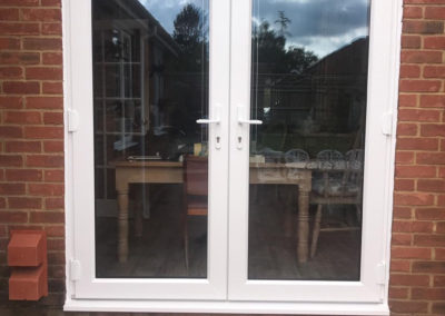 White PVC French Doors With Internal Blinds