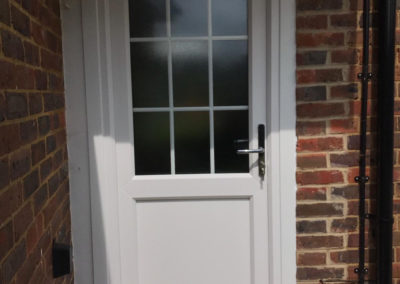 White PVC Back Door With Obscured Glass