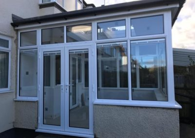 White PVC Conservatory With Internal Blinds