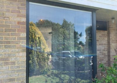 Grey Aluminium Fixed Window With Internal Blinds